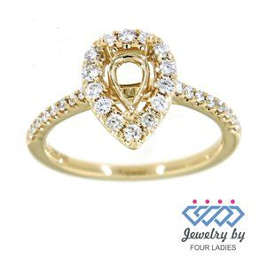 Halo Diamond Pear Style Engagement Ring YellowGold